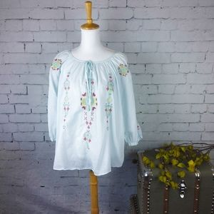 Johnny Was 3J Workshop embroidered peasant top L